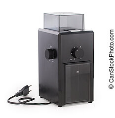 Modern electric black coffee grinder with millstones isolated on the white background close up.