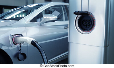 Modern electric car charging at the charger station. 4k 3d animation