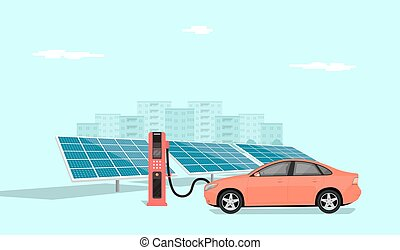 modern electric car charging at the charger station in front of the solar panels, big city skyline in the background, flat style illustration