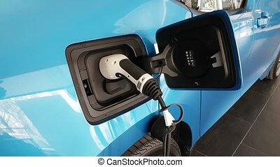 Modern electric car gets energy at some modern power source...