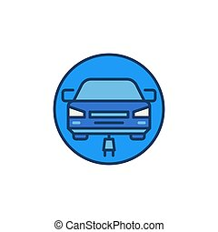 Modern Electric Car with Plug vector round colored icon