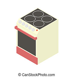 Modern electric cooker icon, cartoon style