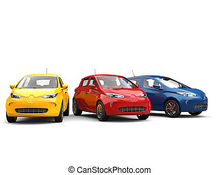 Modern electric eco cars in blue, yellow and red