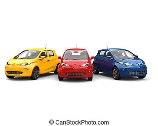 Modern electric eco cars in yellow, blue and red