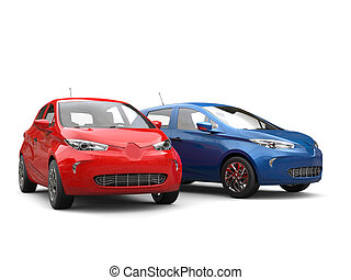 Modern electric eco cars - red and blue