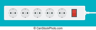 Modern electric extension cord on a white background. Power outlet plug illustration.