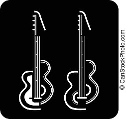 Modern Electric guitar - Two electric guitars on black...