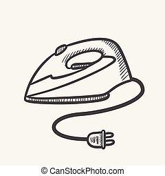 Modern electric iron hand drawn sketch icon.
