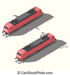 Modern electric locomotive isometric low poly icon set