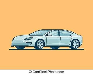 Modern Electric Sedan Car Concept