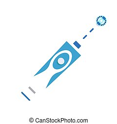 Modern electric toothbrush icon, flat style