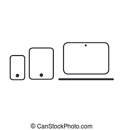 Modern electronic devices. Line style vector illustration of laptop, tablet and phone.