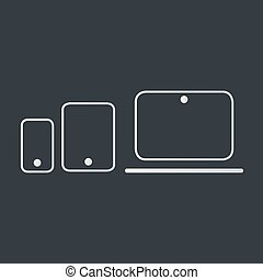 Modern electronic devices on dark background. Line style vector illustration of laptop, tablet and phone.