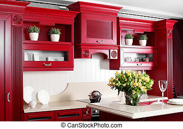 modern, elegáns, berendezés, konyha, piros