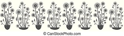 Modern elegant floral seamless vector border in black and white on white background. Hand drawn flowers and textured vases. Great for fabric borders, stationery, packaging, garden, beauty spa products