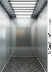 modern elevator 3d render - modern elevator with open doors