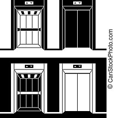modern elevator black symbols - illustration for the web