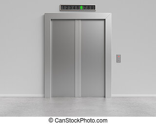 elevator with closed doors - modern elevator with closed...