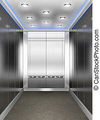 Modern elevator with opened door - 3d illustration