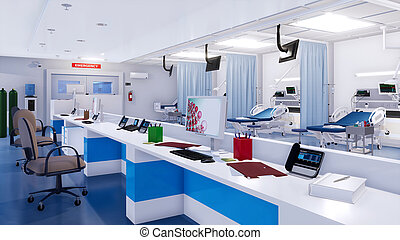 Modern emergency room with empty nurses station 3D -...