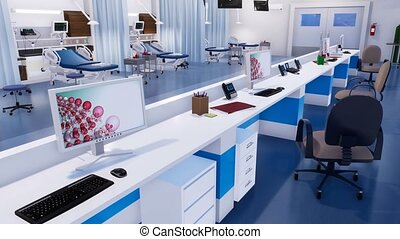 Modern emergency room with empty nurses station 3D