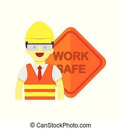 Modern Employee Work Safe Sign Vector Illustration Graphic