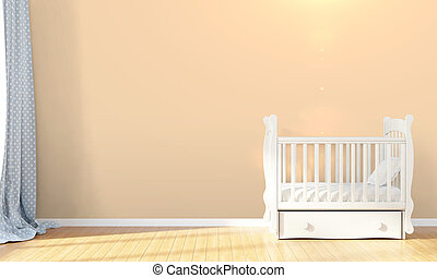 Modern empty children's room . 3D render