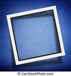 Modern empty frame on blue background