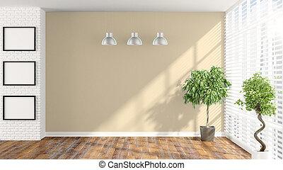 Modern empty interior . 3D rendering