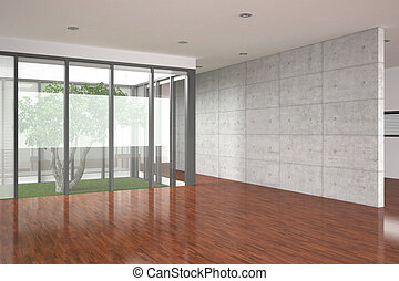 modern empty interior with parquet floor - Modern empty...