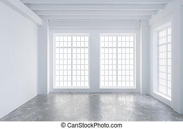 Modern empty loft room with big windows and concrete floor