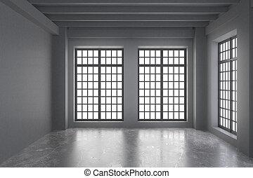 Modern empty  loft room with grey walls, concrete floor and big windows
