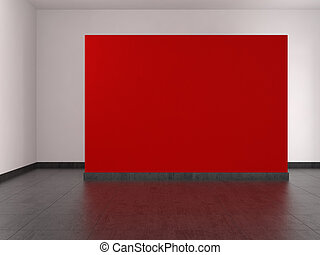 modern empty room with red wall and tiled floor