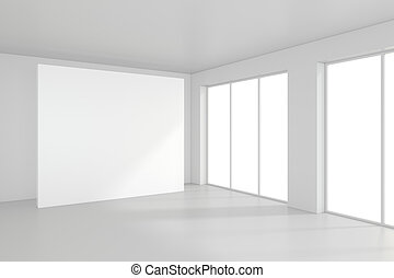 Modern empty room with white billboard. 3D Render