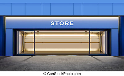 empty store - modern empty store on street of city at night...