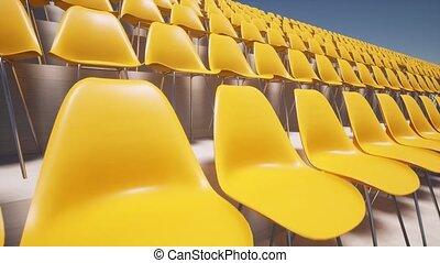 Modern empty yellow seats at stadium arena 4k