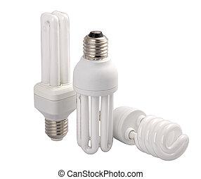 modern energy saving light bulbs, isolated on white ...