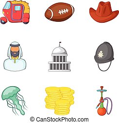 Modern england icons set, cartoon style