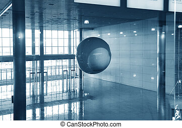modern  entrance hall,handing ball, moving crowd,