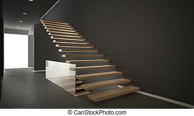 Modern entrance hall with wooden staircase, minimalist gray interior design