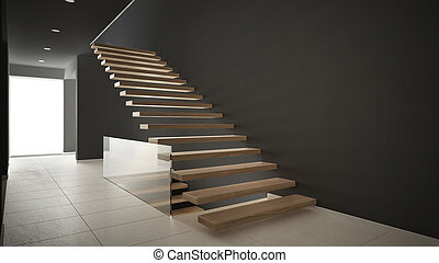 Modern entrance hall with wooden staircase, minimalist white and gray interior design
