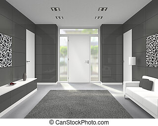 Modern entrance Interior with white front door - fictitious ...