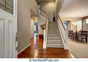 Modern entry way in northwest home. - Modern entry way in...
