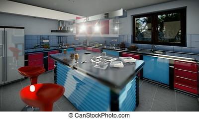 Modern equiped kitchen, camera panning