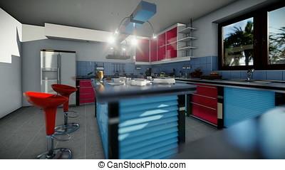 Modern equiped kitchen, camera tilt - Modern equipped...