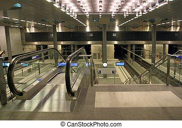Modern escalator - Escalators at modern underground train...