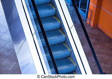 modern escalator in shopping center
