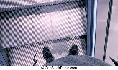 Modern escalator stairs - Stair and escalators in a public...