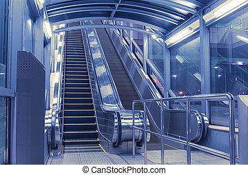 modern escalators hall