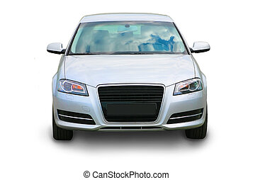 car on white background - modern european car on white...